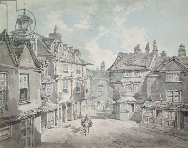 Market Street, Lichfield,  (pencil and watercolour)