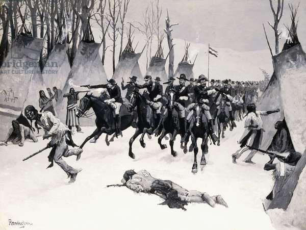 Battle of Washita, 1887-88 (oil en grisaille on board)