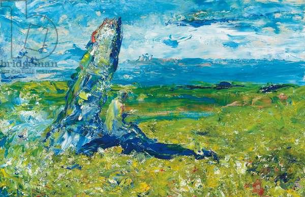 An Old Stone in a Field, 1952 (oil on board)