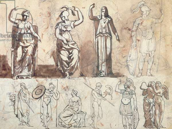 Study from antique models (pencil, pen, brown ink & brown wash)