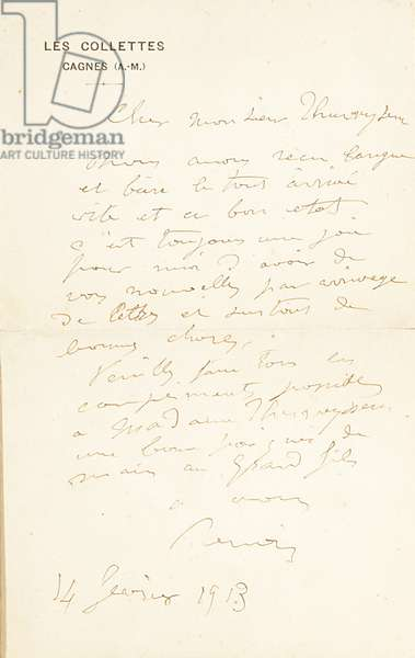Autograph letter signed to Dr. Fritz Thurneyssen, Paris and Les Collettes, 24th June 1908 (pen & ink on paper) (see also 994344)