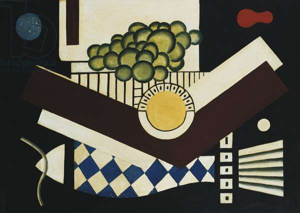 Cluster of Fruit and Fish; Grappes et Poisson, 1927 (oil on canvas)