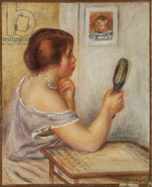 Gabrielle Holding a Mirror or Marie Dupuis Holding a Mirror with a Portrait of Coco, early 1900s (oil on canvas)