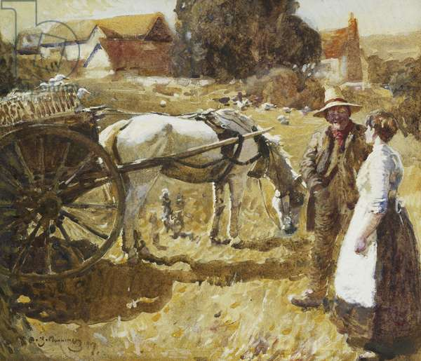 Off to Market, 1907 (watercolour, bodycolour and pencil)