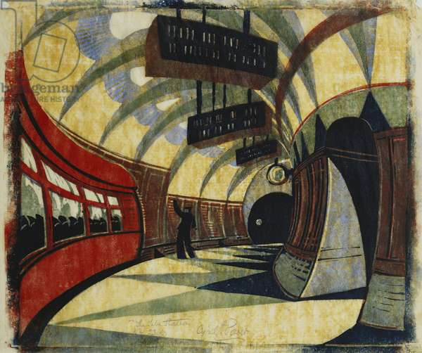 The Tube Station, c.1932 (linocut printed in colours on tissue Japan)