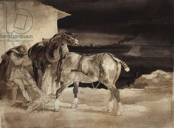 Two Horses and a Sleeping Groom, c.1822-1823 (black lead, pen and brown ink, brown and gray wash on paper)