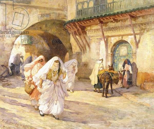 Arab Women in a Street,  (oil on canvas)