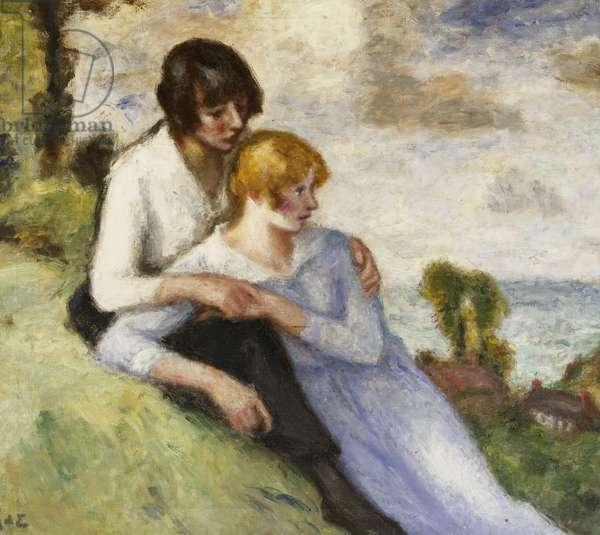 Young Girls in a Landscape; Jeunes Filles dans un Paysage, (oil on canvas)