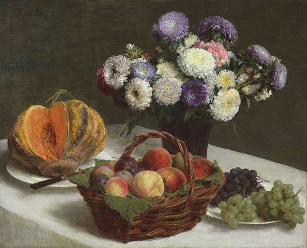 Flowers and Fruits, 1865 (oil on canvas)