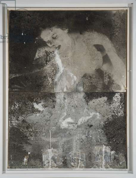 Olympia, 1989 (acrylic, emulsion, ashes and lead on gelatin silver print and pa)