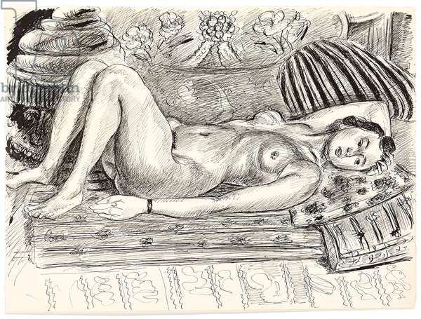 Reclining Nude on a Brasero; Nu Allonge au Brasero, c.1926-1927 (pen and India ink on paper)