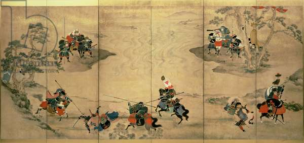 Combat scenes, Edo Period, 18th century, (six- fold screen), Japanese