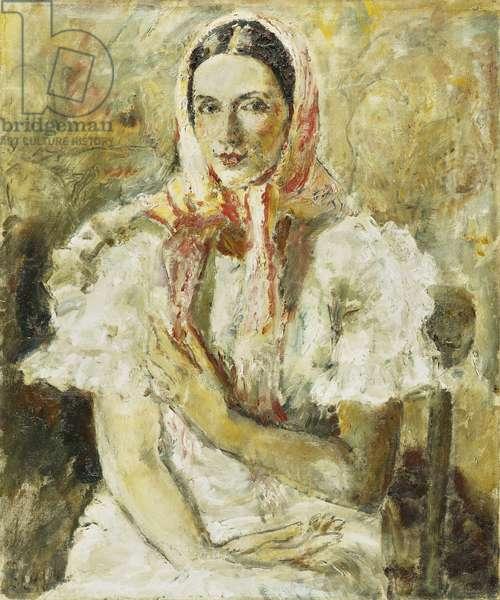Russian Peasant Girl, Olga Eliena, (oil on canvas)