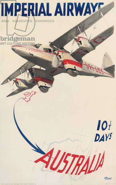 Poster advertising flights to Australia with Imperial Airways  (colour lithograph)