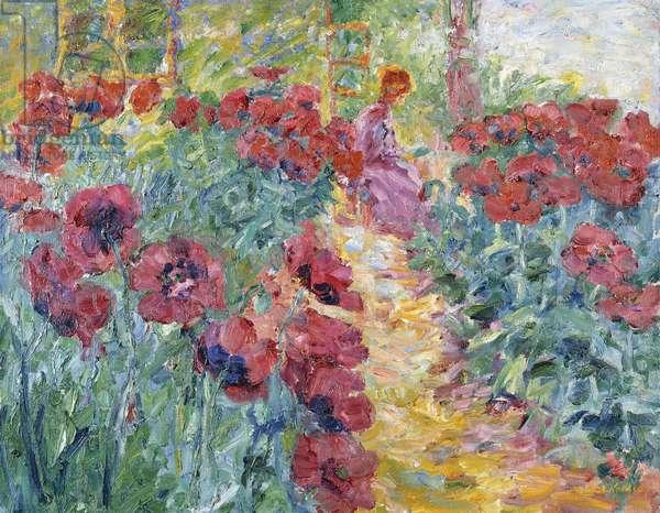Flower Garden, Woman and Poppies; Blumengarten, Frau und Mohn, 1908 (oil on canvas)