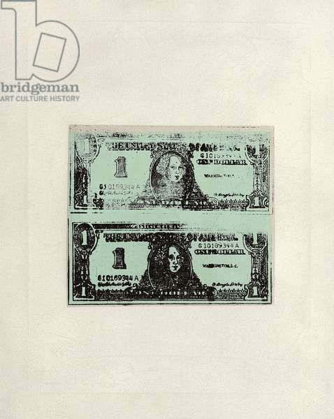 Double One Dollar Bills, 1962 (synthetic polymer and silkscreen inks on canvas)
