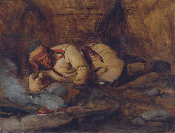 A Laplander Asleep by a Fire (oil on paper laid down on canvas)
