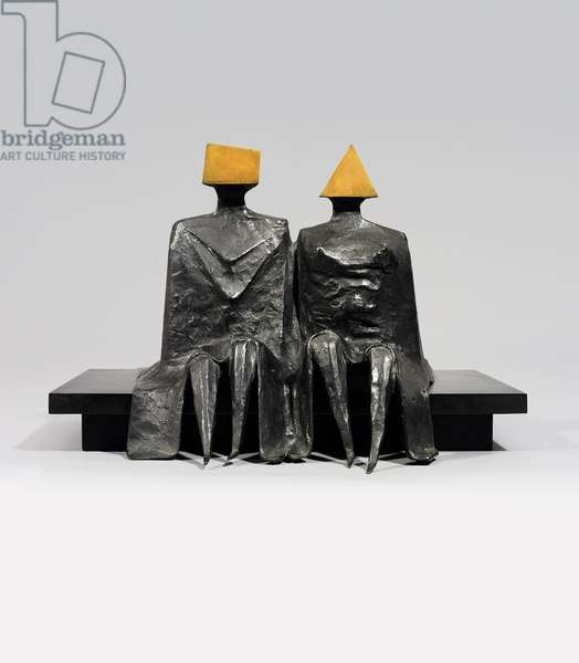 Sitting Couple in Robes I, 1980 (bronze with black polished patina)
