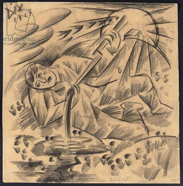 Soldatentod - Soldatenlied, 1917 (charcoal on buff paper)