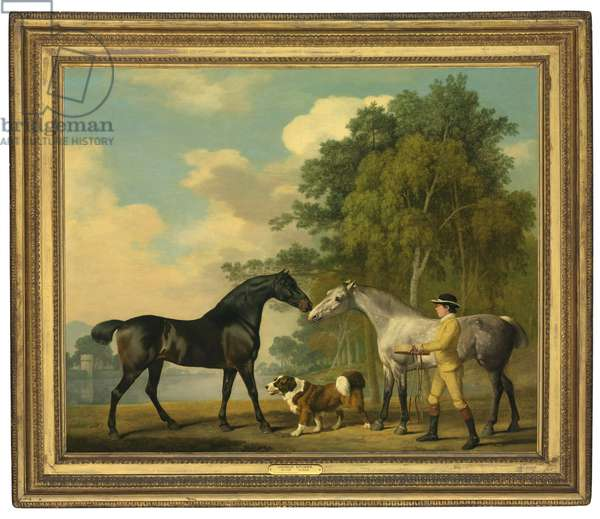 Two hunters with a young groom and a dog by a lake, 1778 (oil on mahogany panel)