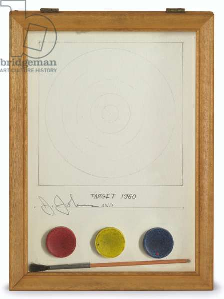 Target, 1960 (graphite, paint brush and dry watercolour cakes on paper in wood frame)