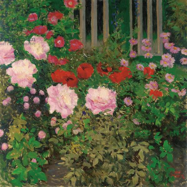 Flowers and Garden Fence;  Bluhende Blumen am Gartenzaun (oil on canvas)