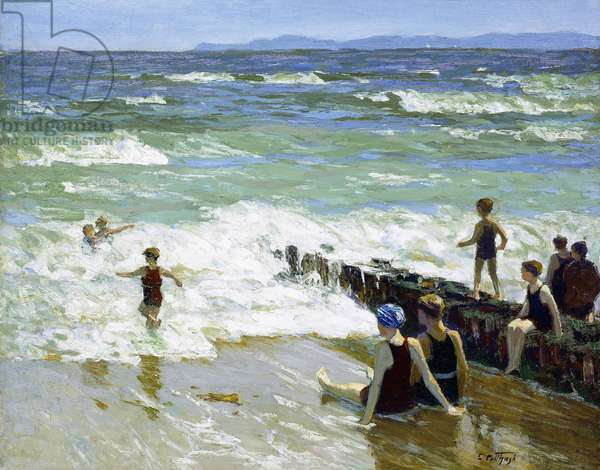 Bathers at Breakwater,  (oil on canvas)