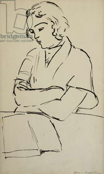 Woman Reading; Femme Lisant, c. 1922 (pen and black ink on paper)