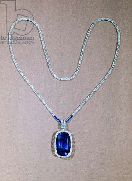 Sapphire and diamond pendant by Cartier