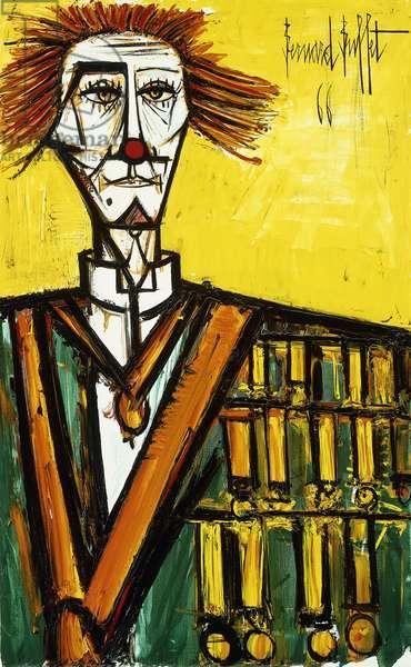 Clown on Yellow Background; Clown Fond Jaune, 1966 (oil on canvas)