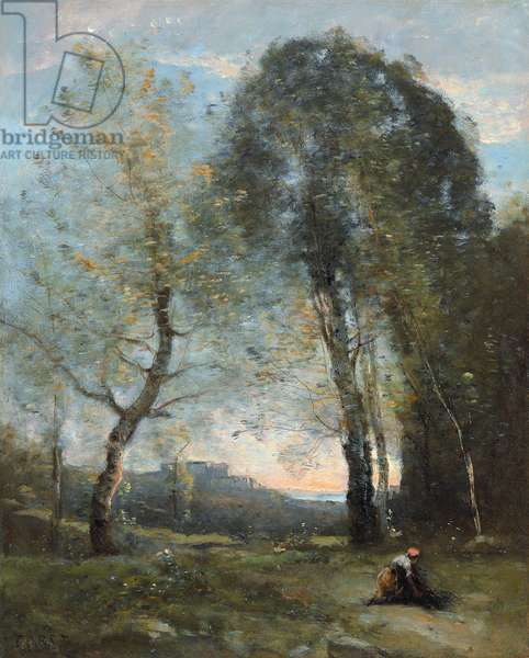 Peasant Woman Collecting Wood, Italy, c. 1870-2 (oil on canvas)