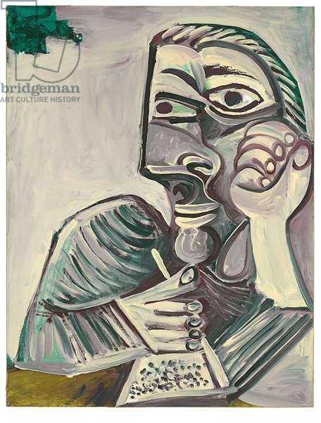 Buste d'homme écrivant (Autoportrait), 1971 (oil on canvas)