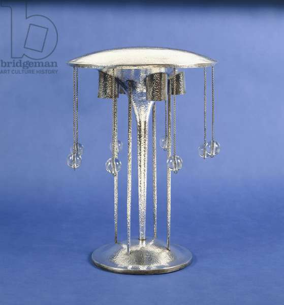 A glass lamp designed by Josef Hoffmann, and executed by Wiener Werkstatte, circa 1905, 1905 (silver-plated, glass)