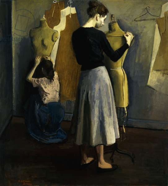 The Seamstresses, (oil on canvas)