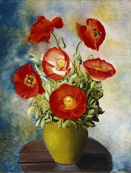 Poppies in a Vase; Coquelicots dans un Vase,  (oil on canvas)