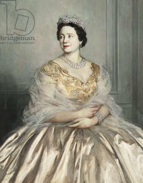 Portrait of Her Majesty Queen Elizabeth, The Queen Mother (oil on canvas)