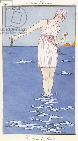 Parisian clothing: Bathing costume, 1913 (coloured print)