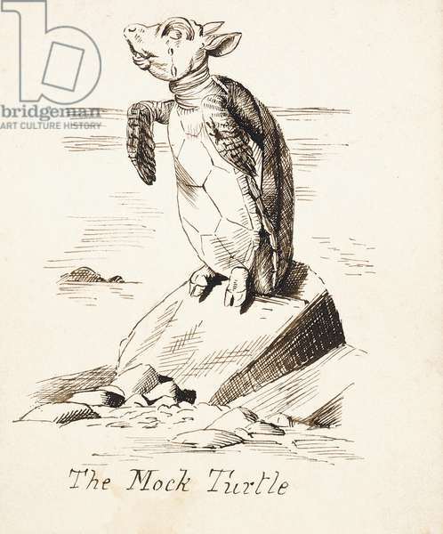 The Mock Turtle'- The Mock Turtle Sobbing on a Rock, c.1865 (pen and brown ink)