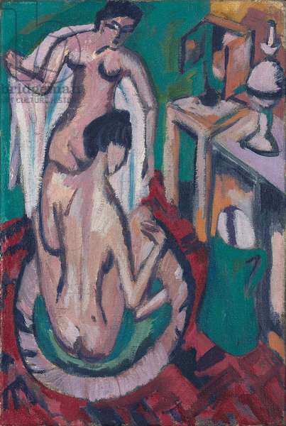 Two Nudes in a Shallow Tub, c. 1912/1913-1920 (oil on canvas)