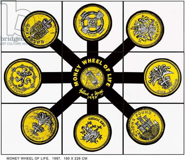 Money Wheel of Life, 1997 (mixed media; in nine parts)