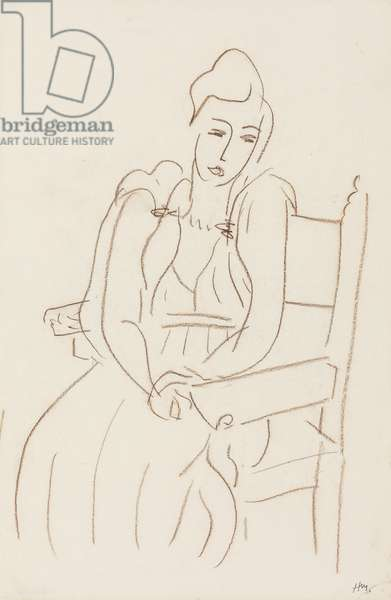 Seated Woman (brown wax crayon on paper)