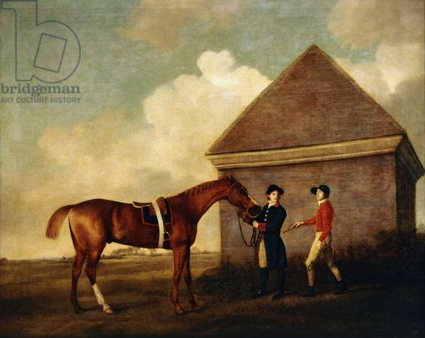 'Eclipse', a Dark Chestnut Racehorse held by a Groom, with a Jockey, Possibly Jack Oakley, by the Rubbing Down House at Newmarket, 1770 (oil on canvas)