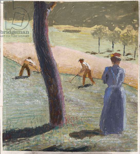 Workers in a Field at Kandern; Arbeiter auf dem Feld bei Kandern, 1907 (oil on paper laid down on card)
