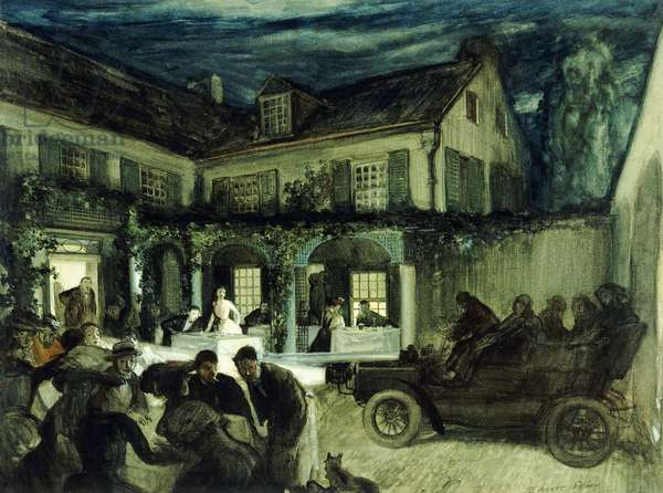 The Soiree, 1905 (watercolour, gouache and pencil on cream paper laid down on pape)