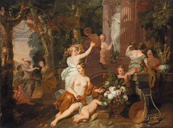 Nymphs and Bacchantes paying homage at the temple of Flora (oil on canvas)