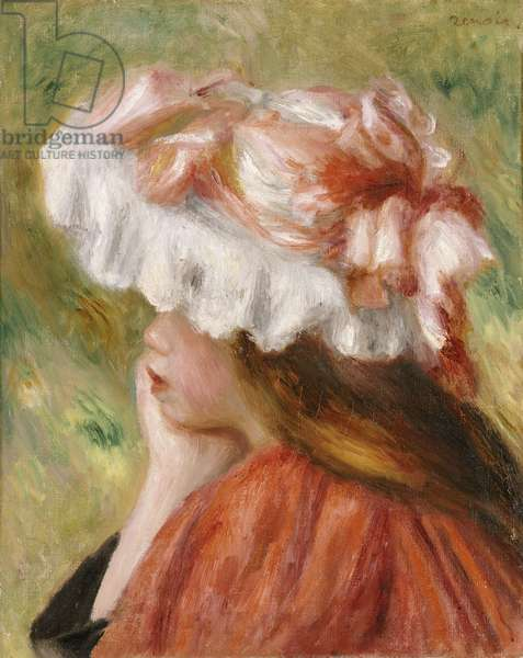 Head of a Young Girl in a Red Hat (oil on canvas)