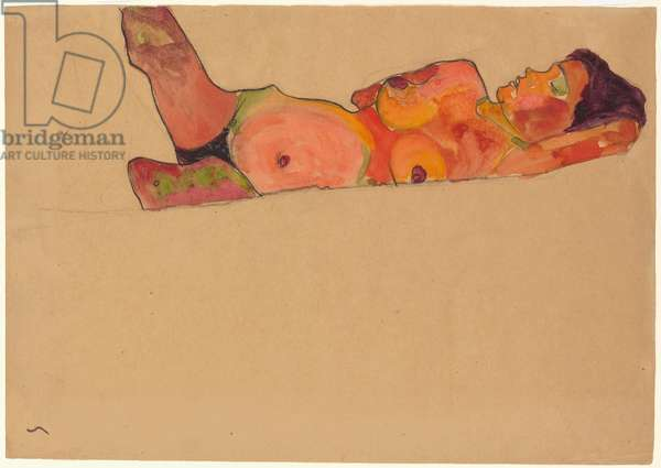 Sleeping Girl; Liegendes schlafendes Madchen, 1910 (watercolour, gouache and black crayon on paper)