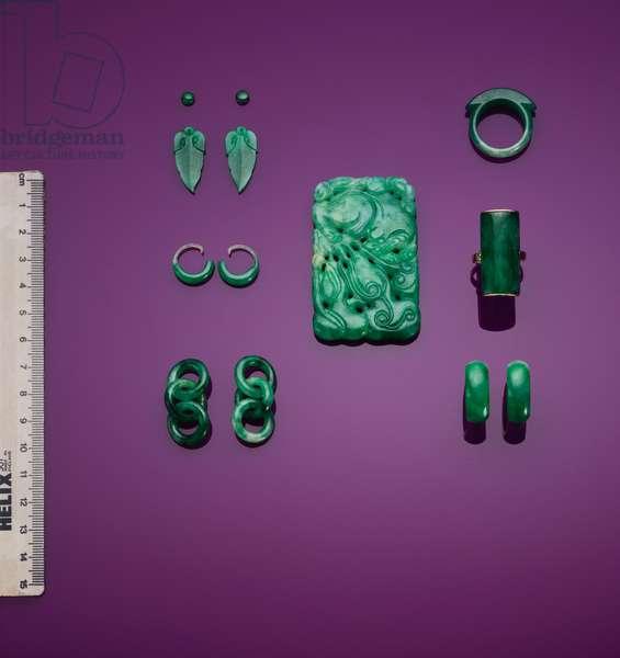 A selection of green jadeite jewellery (jade)