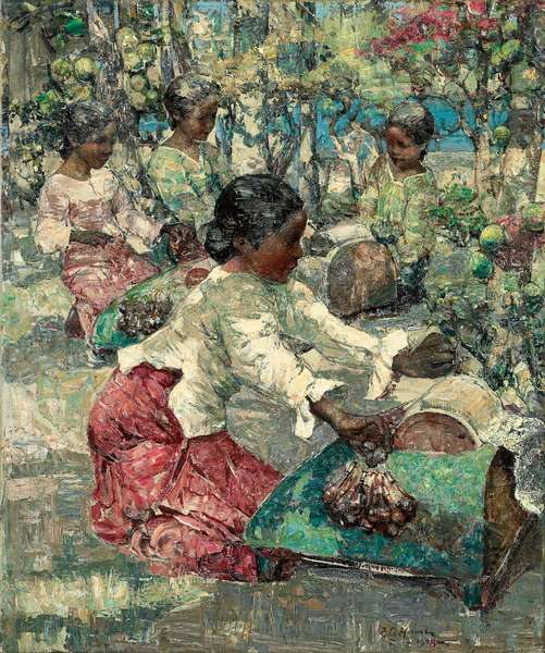 Burmese Lace Makers, 1908 (oil on canvas)