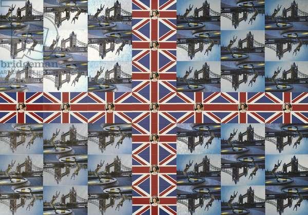 Tower Bridge Flag, 1981 (forty-nine postcards mounted on card)